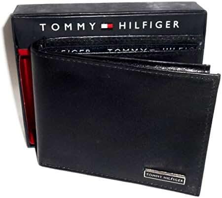 Tommy Hilfiger Passcase & Valet Wallet Men's Bifold Black Genuine Leather