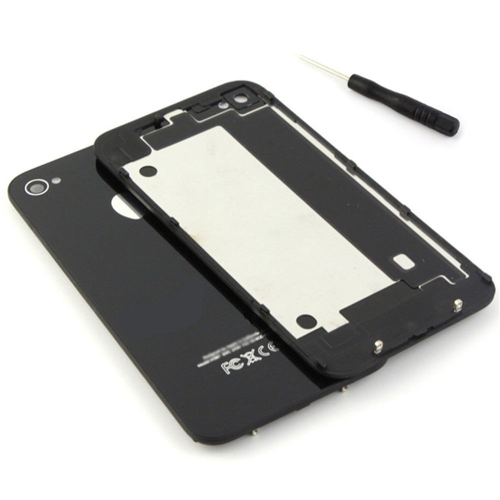 Panel trasero de repuesto de alta calidad y acabado brillante TAPA DE BATERÍA BACK COVER CRISTAL Color negro For iPhone 4S Battery Back Cover ...
