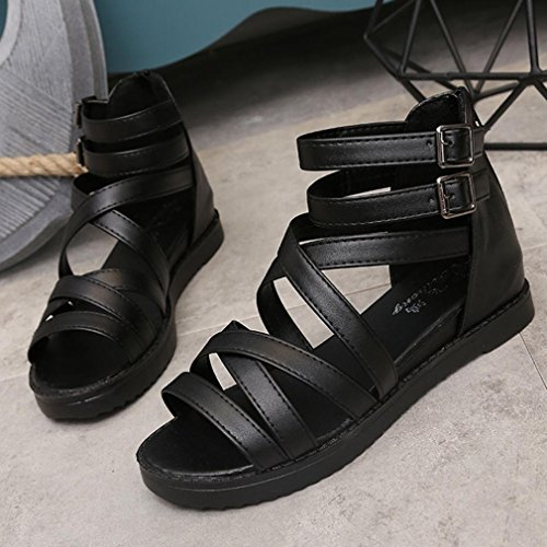866eedf3b8c9b Hunzed Women Shoes Peep-toe Low Sandals Casual Roman Flat Flip Flops ...