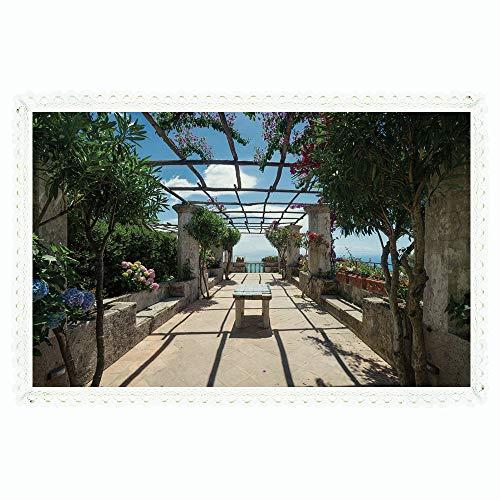 Outdoor Bar Amalfi Table (iPrint Italian Decor,Rectangle Polyester Linen Tablecloth/Beautiful Panorama Villa Rufolo Ravello Amalfi Coast Historical Famous Nature/for Dinner Kitchen Home Décor,60