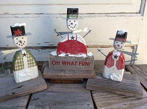 AGD Christmas Decor - Oh What Fun! Prim Wood Snowmen Display 3PC Set (Set Figurine Snowmen)