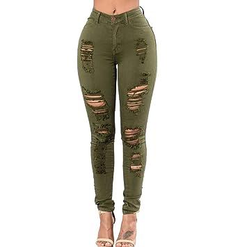 RXF Pantalones Vaqueros con Abertura en la Rodilla Mujer ...