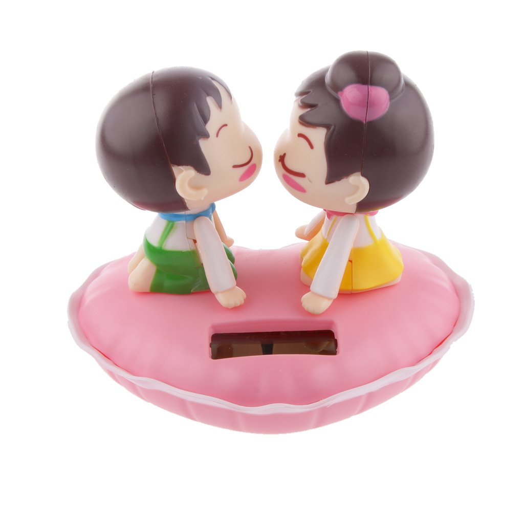 MagiDeal Cute Solar Powered Kissing Baby Bobble Head Dancing Toys Pink