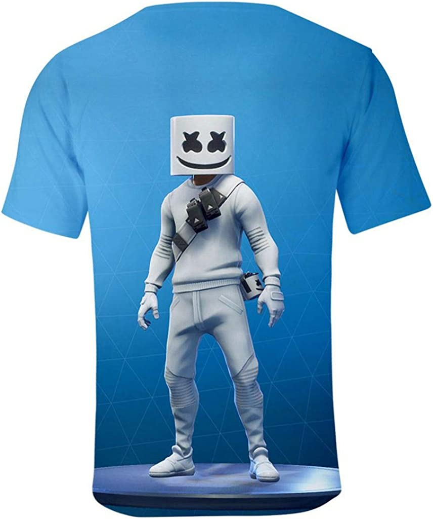 Smile Face 3D Print Funny Boys Teen Polyester Tight Fashion Causal Short Sleeve T Shirt