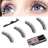Bintee Magnetic Eyelashes, Dual Magnet Reusable No Glue Natural Look 3D Handmade Long Lash with Applicator (1 Pair/4 Pcs)