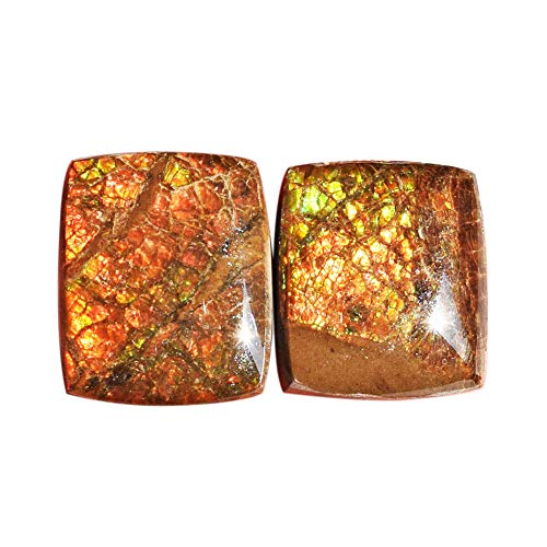 (ABC Jewelry Mart Natural Ammolite Red Fire Pair Cabochon, Size 17x14x5 MM, Green Flashy Ammonites, Earring Pair Stone AG-12129)