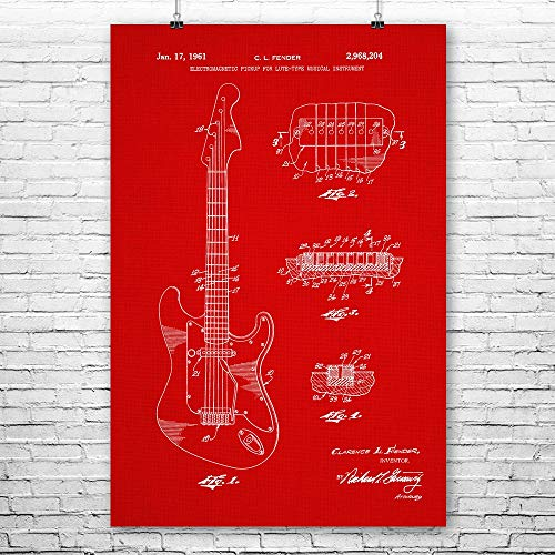 (Patent Earth Jagstang Guitar Poster Print, Mustang Guitar, Musician Gifts, Band Leader, Rock Roll, Blues Guitarist, Jazz Player Red Fabric (11