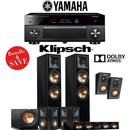 Klipsch RP-280F 5.1.2-Ch Reference Premiere Dolby Atmos Home Theater System (Piano Black) with Yamaha AVENTAGE RX-A3070BL 11.2-Channel Network A/V Receiver