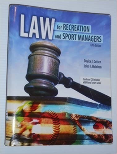Law for Recreation and Sport Managers by COTTEN DOYICE J (2009-12-18)