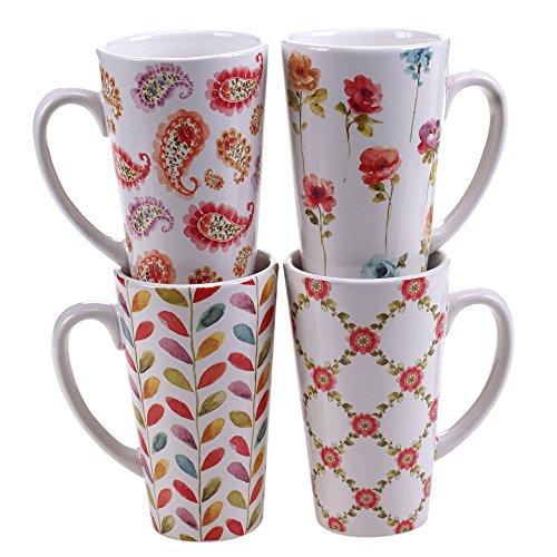 nal Rainbow Seeds Latte Mugs (Set of 4), 16 oz, Multicolor ()