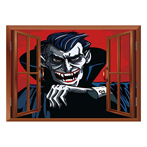 SCOCICI Peel and Stick Fabric Illusion 3D Wall Decal Photo Sticker/Vampire,Cartoon Cruel Old Man with Cape Sharp Teeth Evil Creepy Smile Halloween Theme,Blue Red Grey/Wall Sticker Mural ()