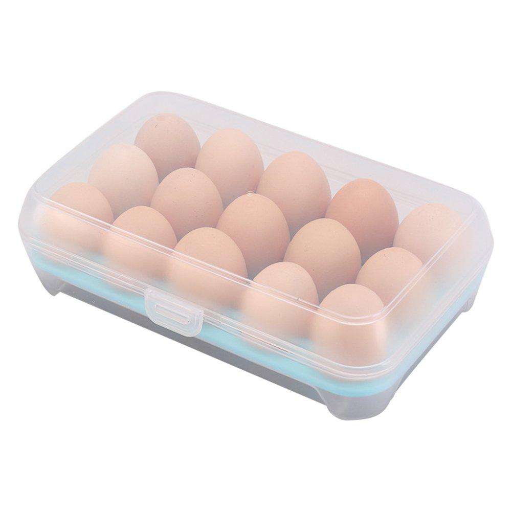 Kentop Eier box f/ür K/ühlschrank Eierhalter Eier Aufbewahrungsbox Kunststoff Eierbeh/älter mit Deckel Eier box f/ür 15 Eier Blau