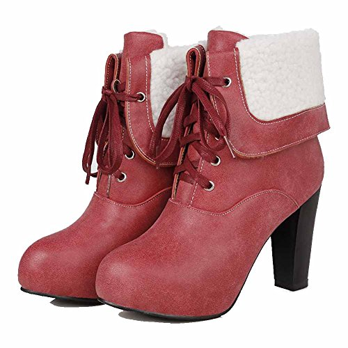 top AgooLar Round Red Closed PU Heels Boots High Toe Women's Low Solid B6BwR