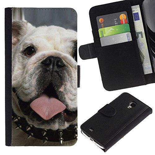 EuroCase - Samsung Galaxy S4 Mini i9190 MINI VERSION! - punk English bulldog London icon dog - Cuero PU Delgado caso cubierta Shell Armor Funda Case Cover