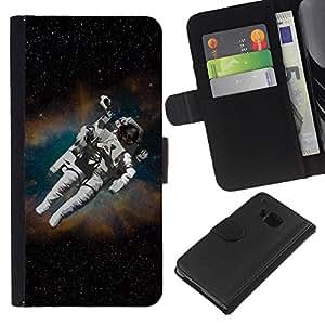 KingStore / Leather Etui en cuir / HTC One M7 / Cosmonauta Astronauta Skeleton Art Space Travel