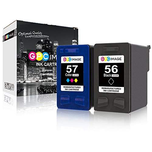 - GPC Image Remanufactured Ink Cartridge Replacement for HP 56 57 Ink High Yield to use with Deskjet 5550 5650 5150 5850 Photosmart 7260 7450 7150 7350 Printer (1 Black, 1 Tri-Color, 2-Pack)
