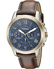 Fossil Grant Men's Blue Dial Leather Band Watch - FS5150