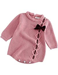 19411449cd7f Infant Toddler Baby Elastic Collar Knit Bow Romper Jumpsuit Girl Boy Long  Sleeve Button Outfits