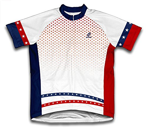 (ScudoPro Stars Rain USA Pride Short Sleeve Cycling Jersey for Men - Size M)