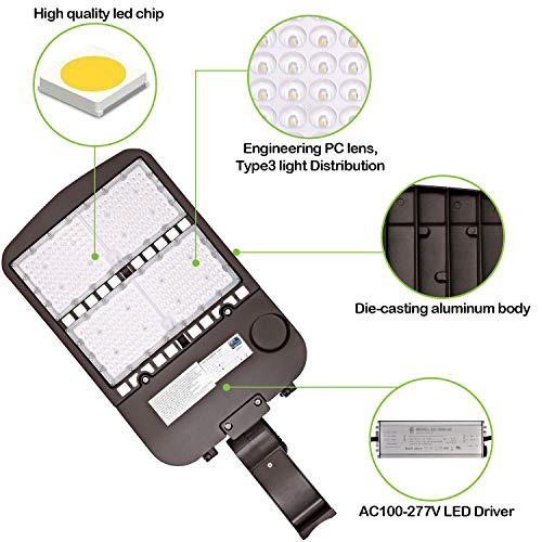 Hykolity 300W LED Parking Lot Light with Photocell,39000lm 5000K Waterproof LED Shoebox Fixture, Outdoor Pole Mount Light for Large Area Lighting [1000w Equivalent] Arm Mount DLC Complied by hykolity (Image #4)