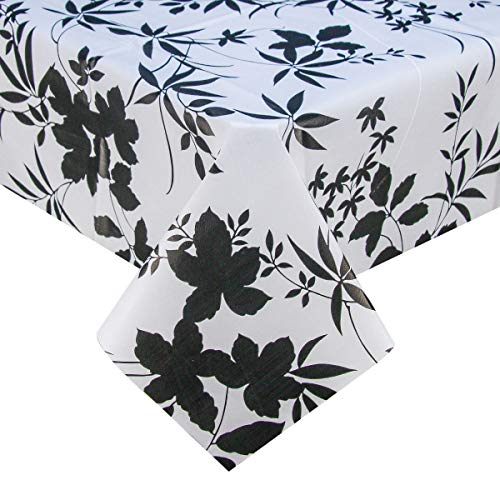 (PVC Plastic Oilcloth Tablecloth Vinyl Peva Wipeable Reusable Spillproof Waterproof Tablecloths for Picnic Banquet Card Table Oblong Shabby Chic White and Black 54x78 Inch)