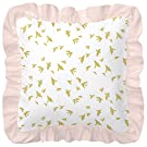 Carousel Designs White and Gold Birds Decorative Pillow Square