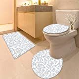 HuaWuhome 3 Piece Anti-Slip mat Set Soft Floral Flower Orchids Bohemian Style Vintage PetalsVines French Country Style Blue White F 3D Digital Printing