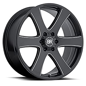 BLACK RHINO HAKA 20x8.5 6/139.7 ET15 CB112.1 GLOSS BLACK W/MILLED SPOKES
