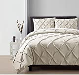 OSD 4pc Taupe Pintuck Comforter Queen Set, Polyester, Light Brown Adult Bedding Master Bedroom Stylish Solid Color Pattern Puckered Diamond Design Geometric Tufted Elegant French Country Traditional