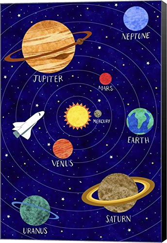 Solar System by Elizabeth Caldwell Canvas Art Wall Picture, Museum Wrapped with Black Sides, 11 x 16 inches by Great Art Now