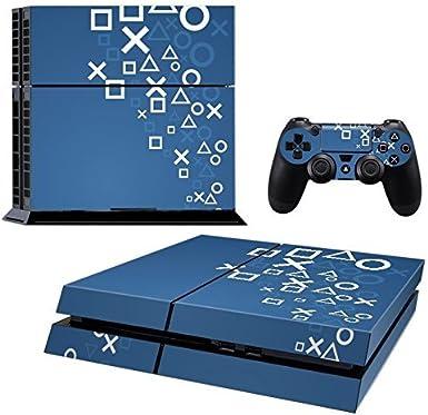 Pandaren® completos placas frontales Pegatinas de la piel para la consola PS4 x 1 y el mando x 2 (marcas azul PS) [Instrucción en las listas de imágenes]