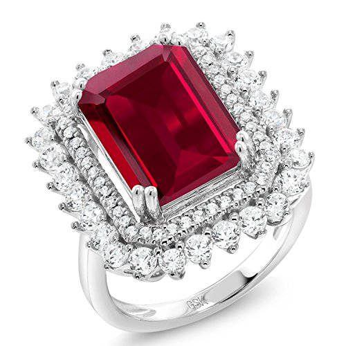 8.60 Ct Emerald Cut Red Created Ruby 925 Sterling Silver Ring (Size 7) (Ruby Cut Ring)