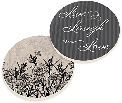 Live Laugh Love Stencil Flowers 2 Piece Ceramic Car Coasters Set ()