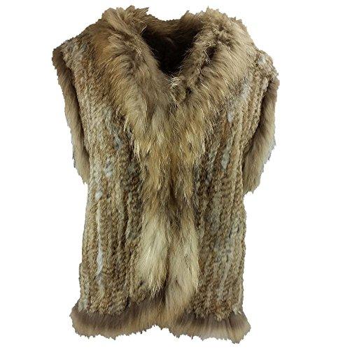 Lovingbeauty Knitted Rabbit Fur Vest with Raccoon Fur Trim Plus (Rabbit Fur Crop)