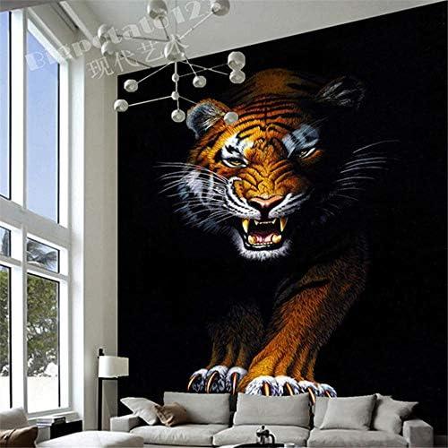 Hxcok カスタム3D壁画壁紙現代シンプルな動物虎写真ウォールペーパーレストランリビングルーム入り口の背景3D壁画-100cmX200cm
