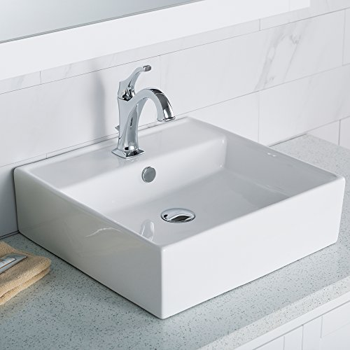 KRAUS KCV-150 Elavo Bathroom Vessel Ceramic Sink, 18.5, White