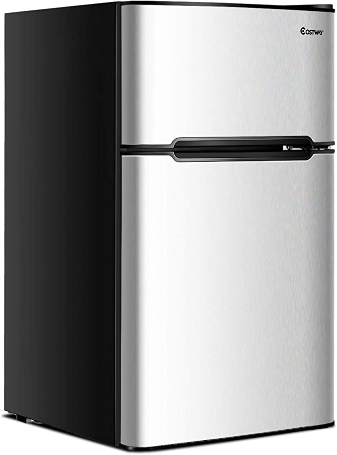 Dorm or Apartment with Adjustable Removable Glass Shelves 3.2 cu.ft Freestanding mini Fridge Suitable for Office Joy Pebble Compact Double Door Refrigerator and Freezer white