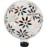 Sunnydaze Multi-Colored Mosaic Flowers Outdoor Gazing Ball Globe, 10-Inch