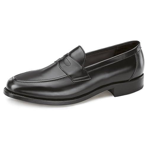 Samuel Windsor Men's Handmade Goodyear Welted Slip-on Penny Loafer Leather  Shoes in Black,