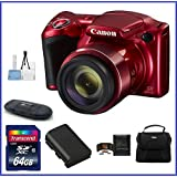 Canon PowerShot SX420 IS Digital Camera [Red] 64GB Pro Bundle, Includes 64GB SDXC Class 10 Memory Card, Spare Battery, Small Camera Bag and more ...
