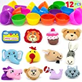 12 Pcs Plastic Easter Eggs with Plush Animal Mini Dolls Set, easter decorations,prefilled easter eggs for All kinds,Colorful Prefilled Surprise Eggs for Party Favor, Easter Eggs Hunt Fillers, Easter Basket Stuffers, toddler toys