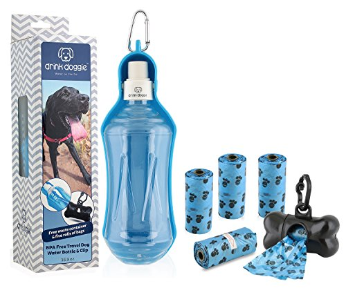 fab fur gear Drink Doggie Dog Water Bottle for Travel & Bundled Waste Bags | Portable | Collapsible Gift for Dogs| Holds 16.9oz of Water