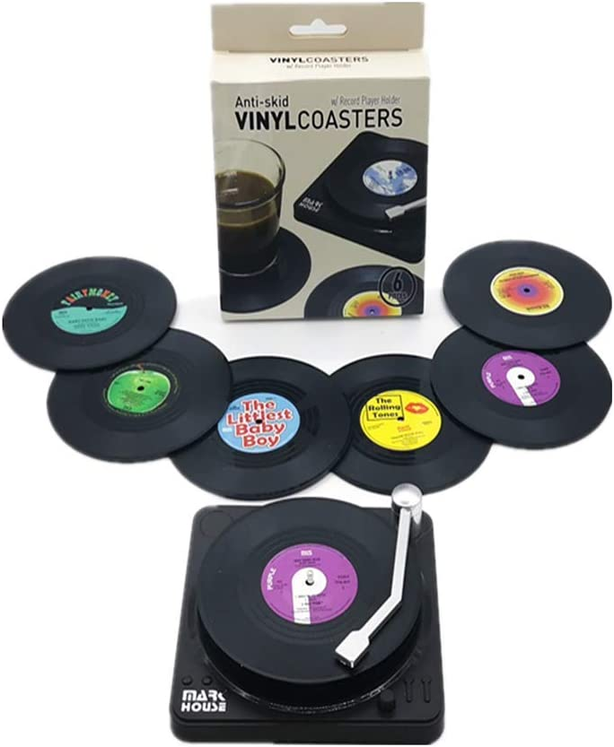 Uwoll Coasters for Drinks Colorful Retro Funny Vinyl Record Decor Holder Music Decorations for Home Beer Disk Coaster for Coffee Bar Items Set of 6