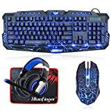 BlueFinger Gaming Keyboard Mouse Headset Combo,USB Wired 3 Color Crack Backlit Keyboard,Blue LED Light Gaming Headset,Gaming Keyboard Set