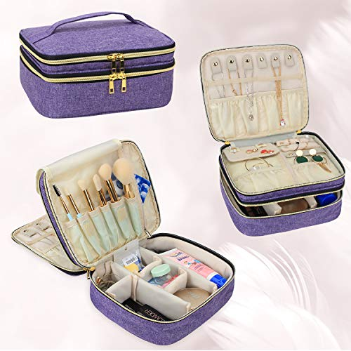 Luxja Travel Case for Jewelry and Makeup, Double-layer Makeup Train Case with Compartment for Jewelry and Other Beauty Supplies, Purple
