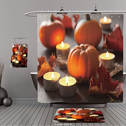 Uhoo Bathroom Suits & Shower Curtains Floor Mats And Bath Towels 214393909 decorative halloween pumpkins and candles For Bathroom