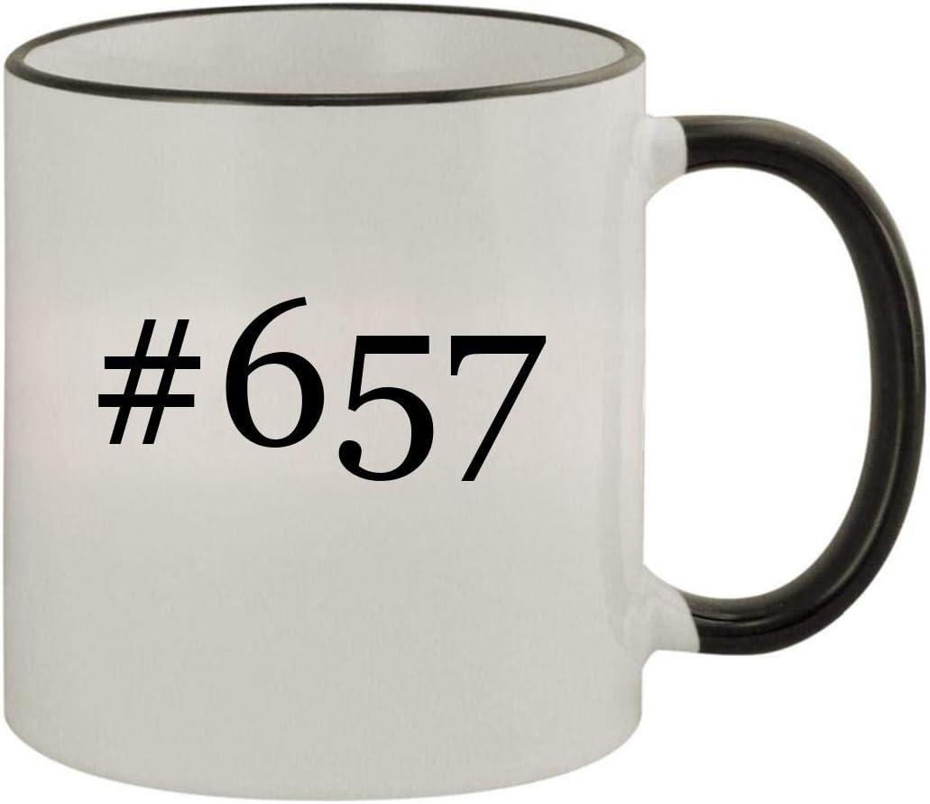 #657-11oz Ceramic Colored Rim & Handle Coffee Mug, Black