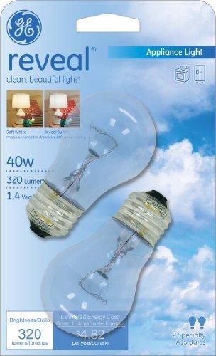GE Lighting 48706 40-Watt Reveal A15 Appliance Bulb, 2-Card - bedroomdesign.us
