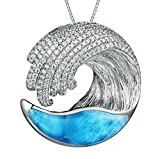 """Sterling Silver CZ and Larimar Wave Necklace Pendant (L) with 18"""" Box Chain"""