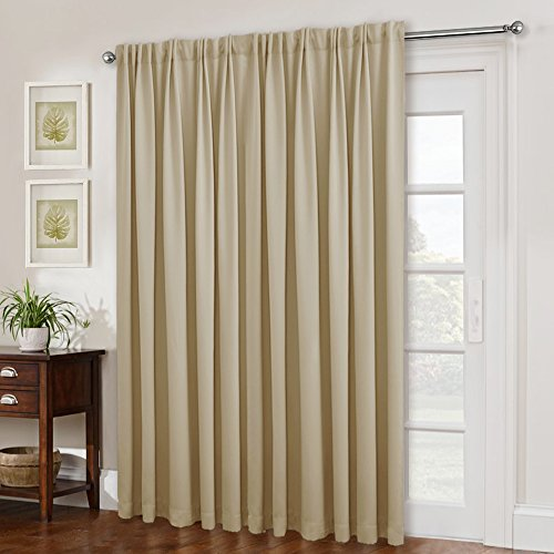 Glass Door Curtains for Window - Wide Thermal Curtain Panels, Sliding Door Drapes, Extra Wide Curtains by NICETOWN (Beige, 100